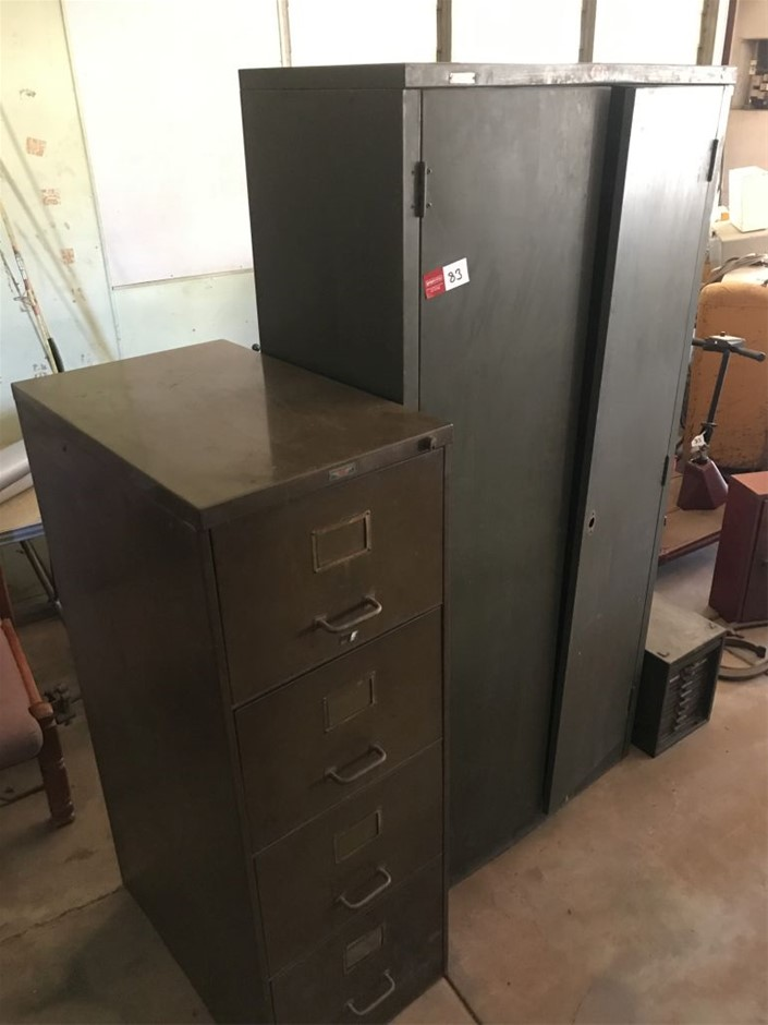 File cabinet and locker, 4 drawer file cabinet, 2 door locker with shelves