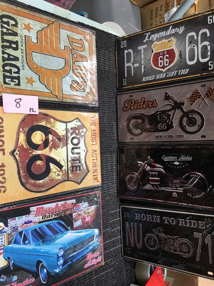 Bulk Lot of 7 x Vintage Style Tin Signs
