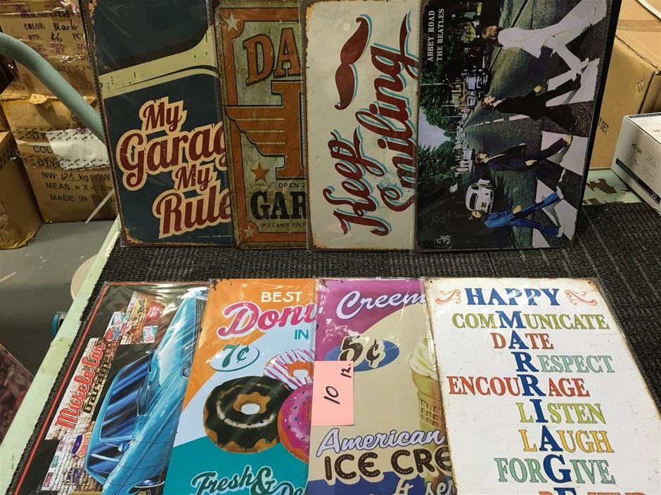 Bulk Lot of 8 x Vintage Style Tin Signs
