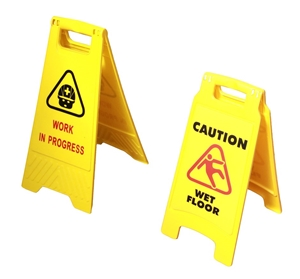 2 x Safety Sign Cleaning & Work in Progr