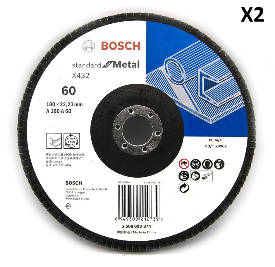 2 x Bosch 180mm Metal Flap Disc Sanding wheel 60 Grit