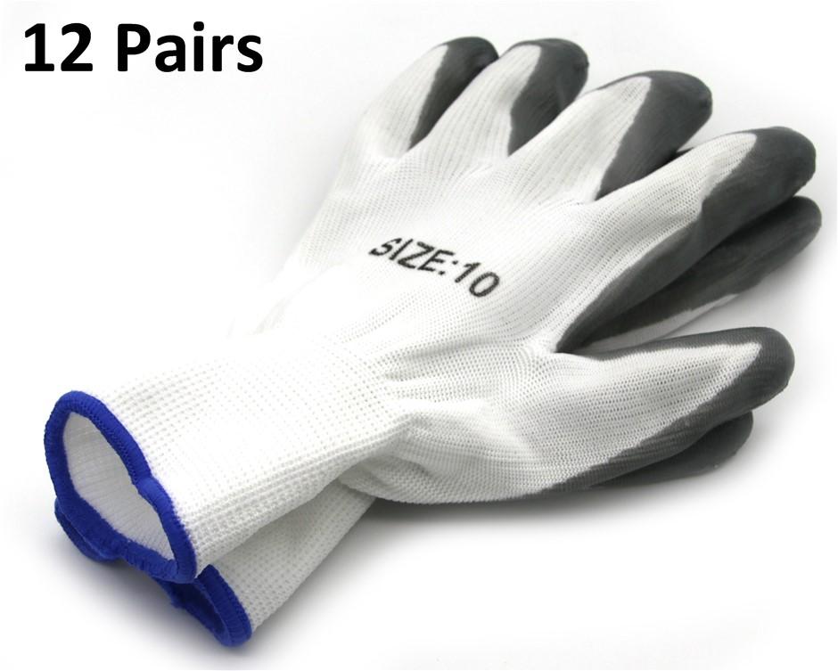 Nitrile-Coated Work Gloves 12 Pairs Grey/White Large