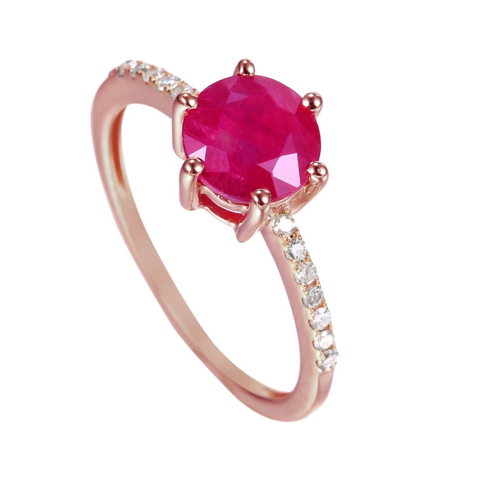 9ct Rose Gold, 1.90ct Ruby and Diamond Ring