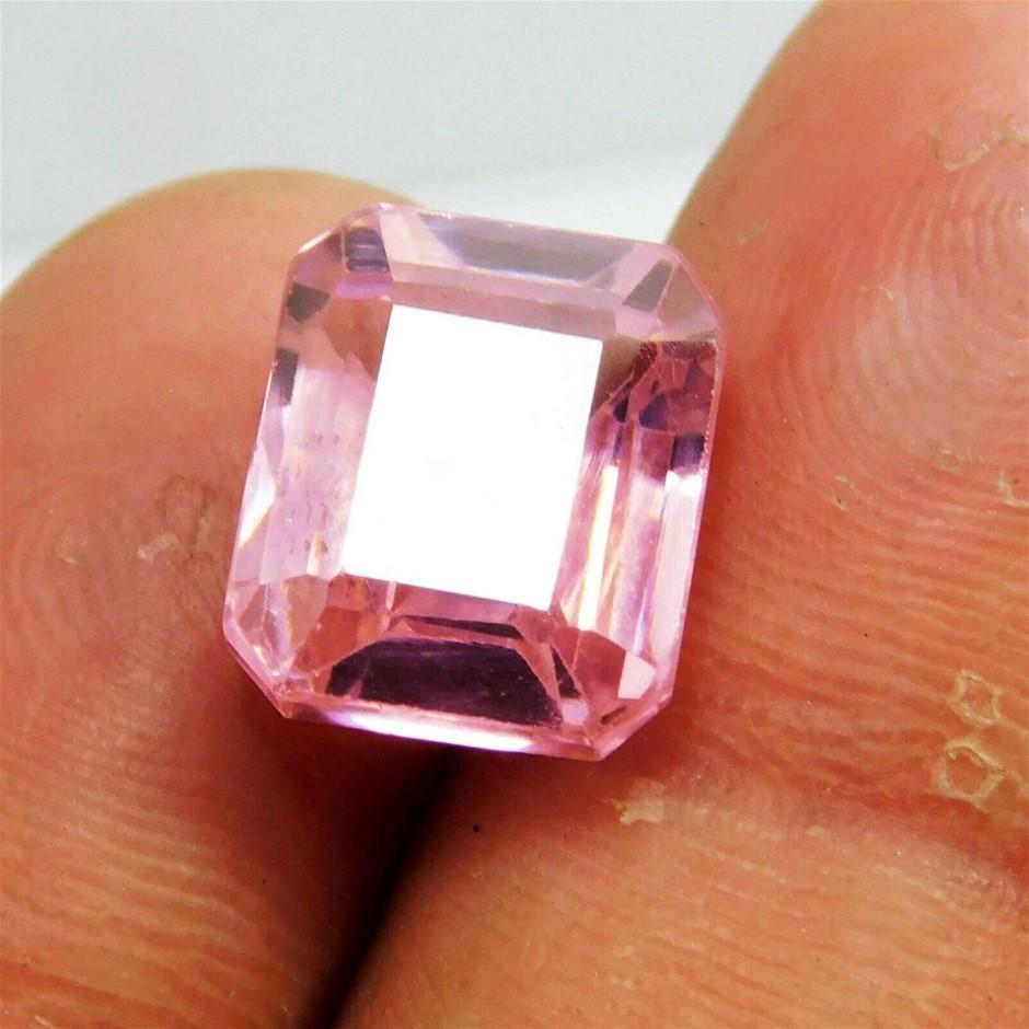 13.70 Ct. synthetic Emerald Cut Pink Kunzite Gemstone