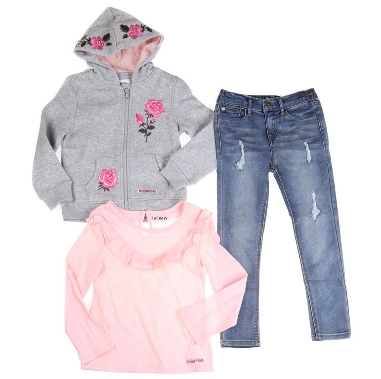 HUDSON Girl`s (Toddlers) 3pc Clothing Set, incl. Rose Embroidered Bomber Ja