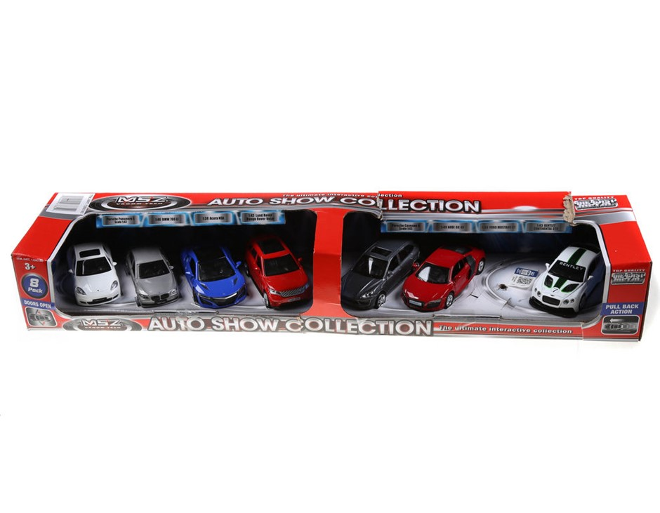 MS2 Auto Show Collection of 7 x Cars, Doors Open, Pull Back Action. (SN:CC4