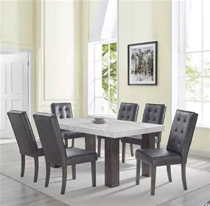 ADALYN 7pc Dining Set with Marble Top Ti