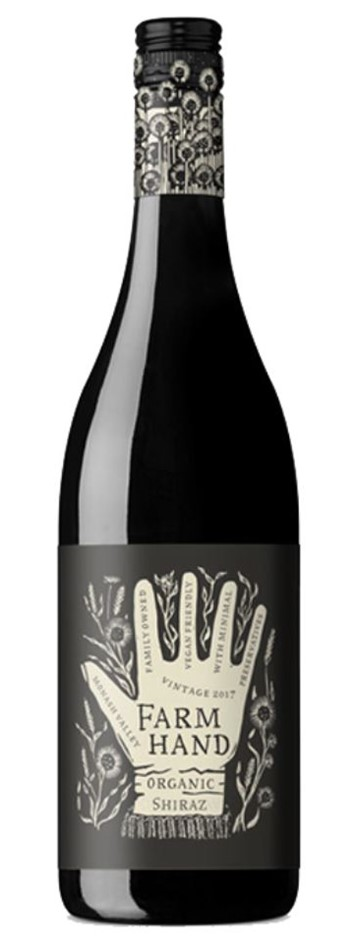 Farm Hand Organic Shiraz 2019 (6 x 750mL), SA.