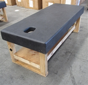 Thai Massage Table with Black Leather To