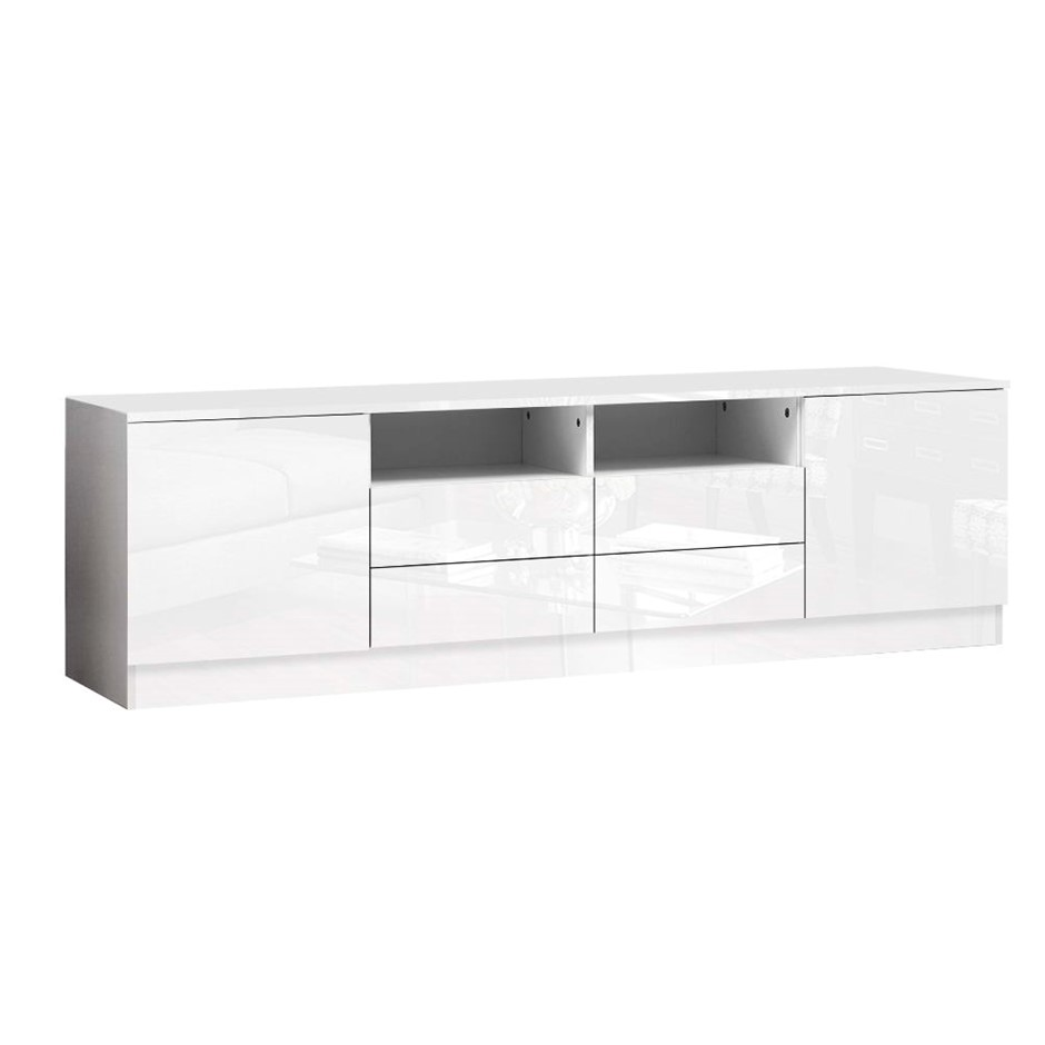 Artiss 180cm TV Cabinet Stand Gloss Furniture 4 Storage Drawers White