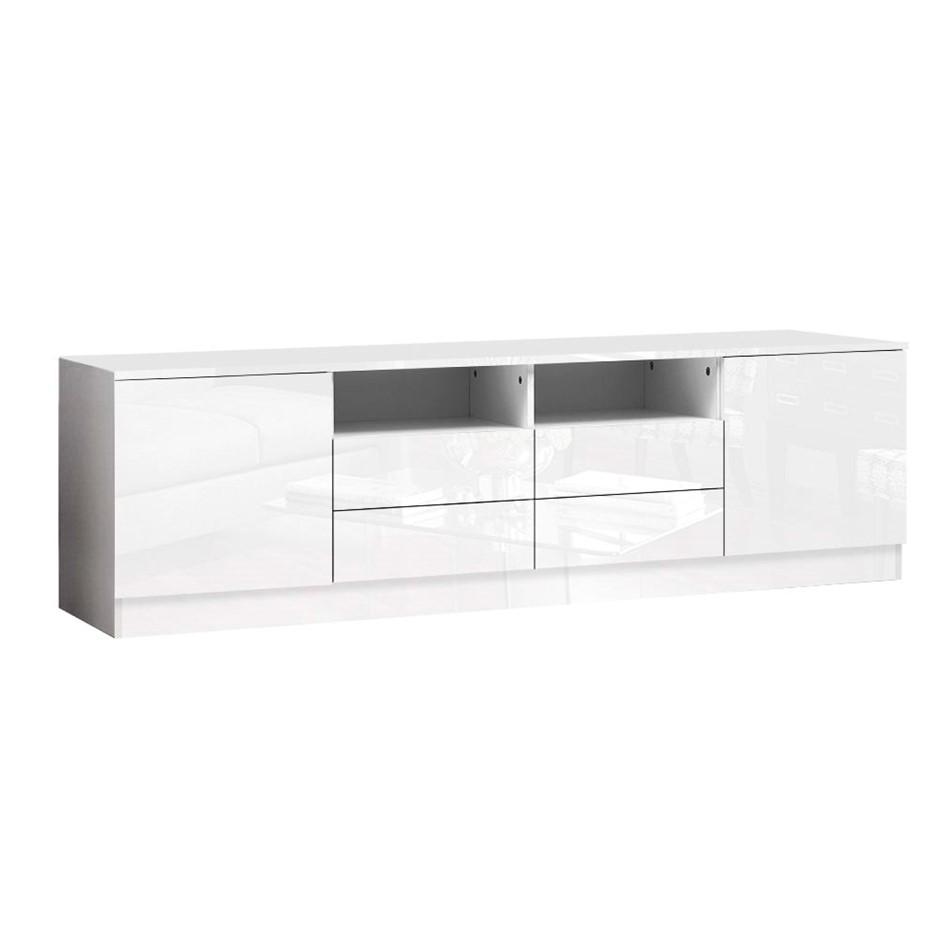 Artiss 180cm TV Cabinet Stand Gloss Furniture 4 Storage Drawers White