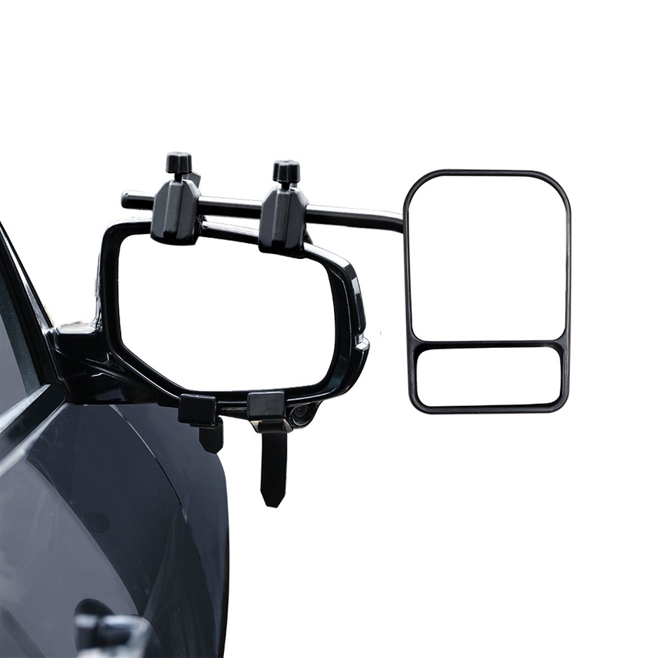 2 x Towing Mirrors Pair Heavy Duty Multi Fit Clamp On Caravan 4X4 Trailer