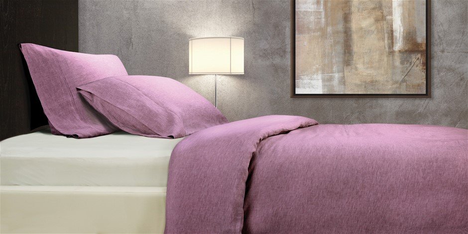Royal Comfort 100% All Natural Luxury Linen Quilt Set - Mauve - Queen