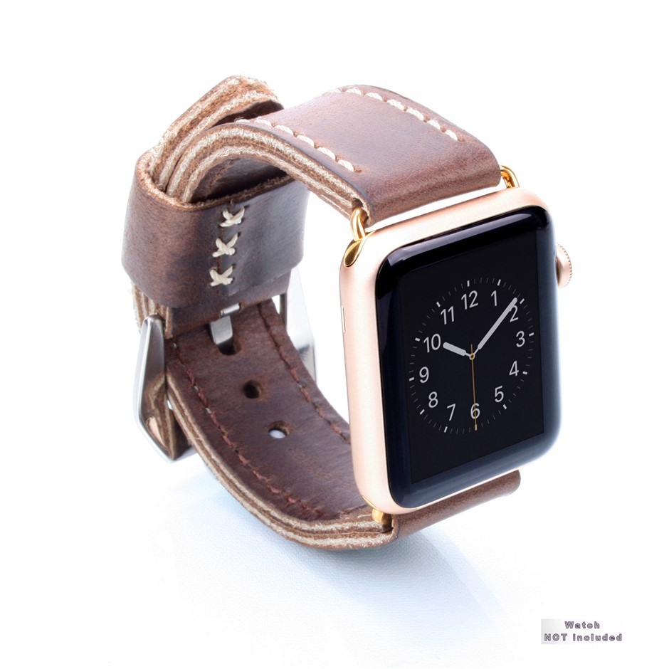 Dark Brown Leather Strap 24/24 with Buckle for Apple Watch w/ 24mm Gold lug