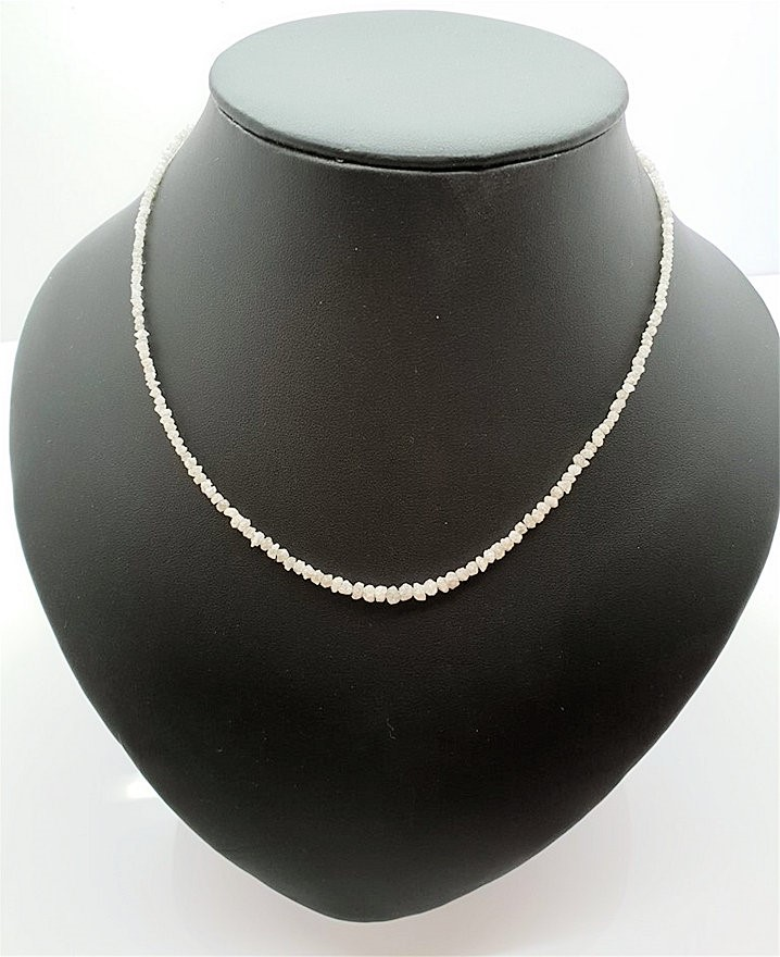 "15.07 carat Solid Real White Loose Rough Diamond 16"" Necklace Silver Lock"