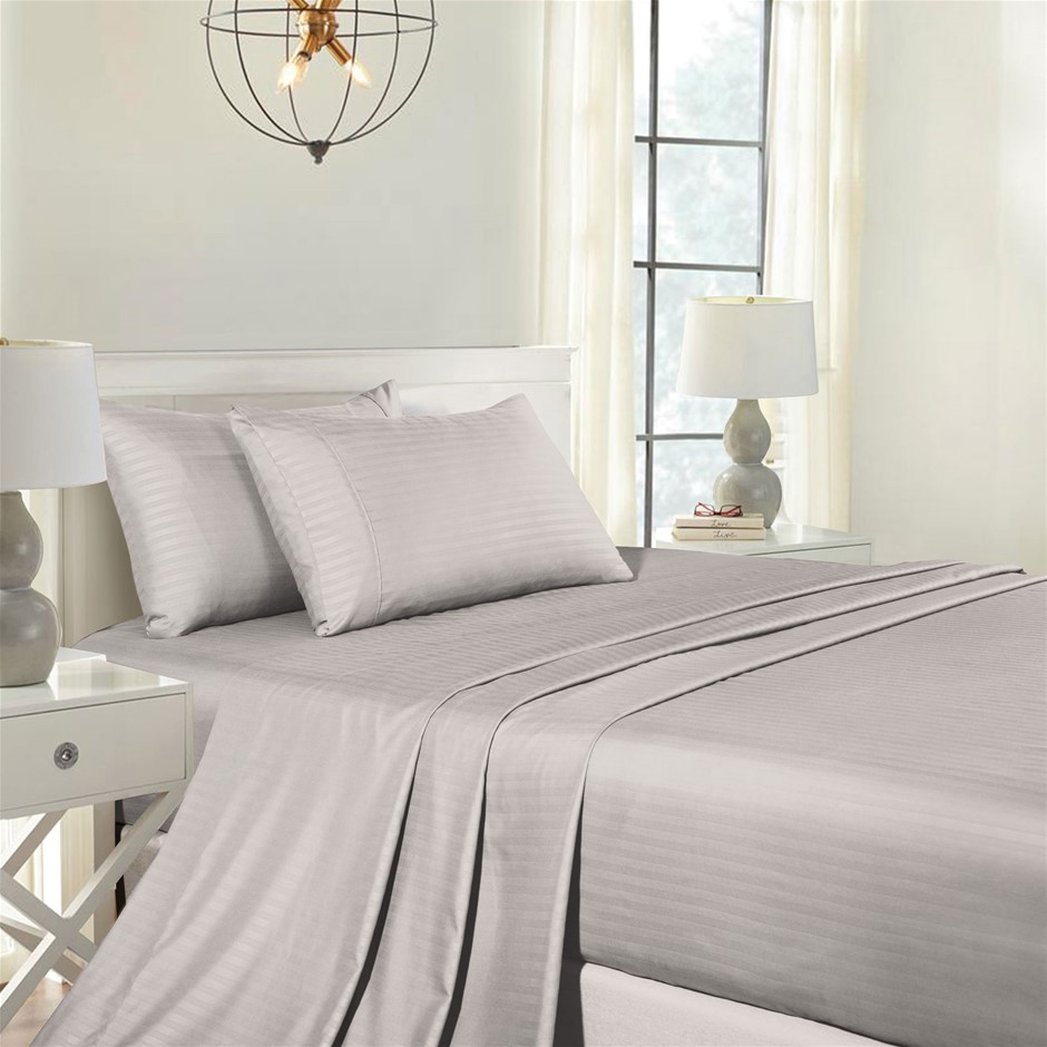 Royal Comfort Blended Bamboo Sheet Set with Stripes - King - Silver Grey