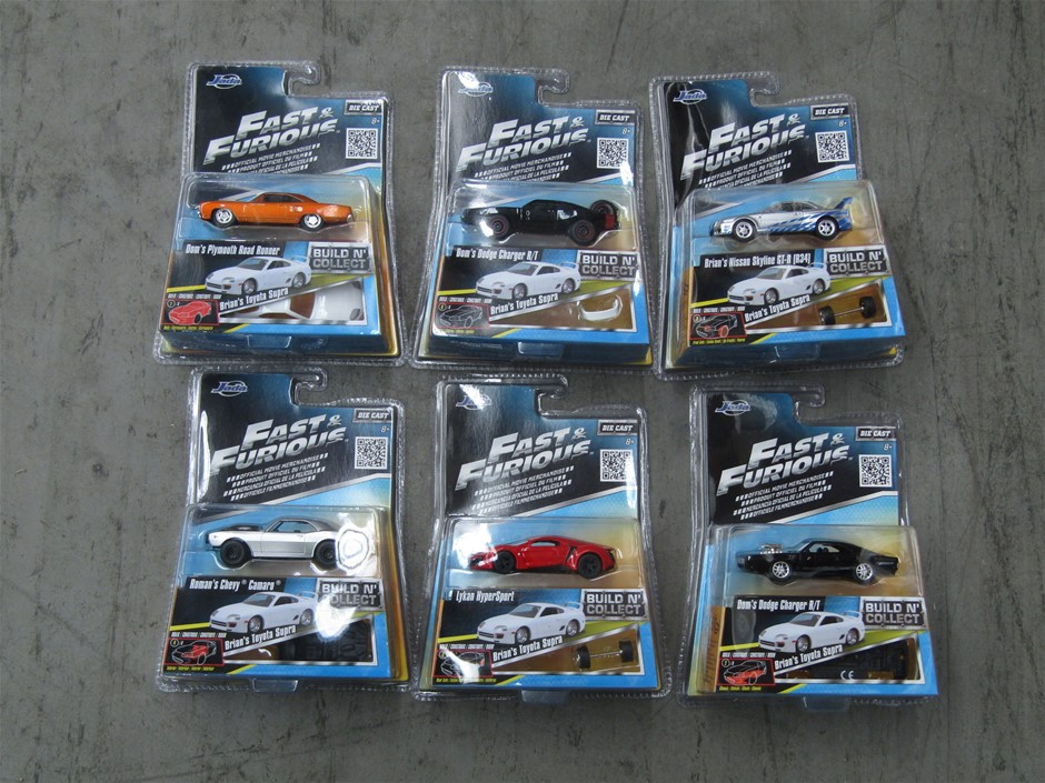Jada Box of 6 Fast and Furious Die Cast Cars