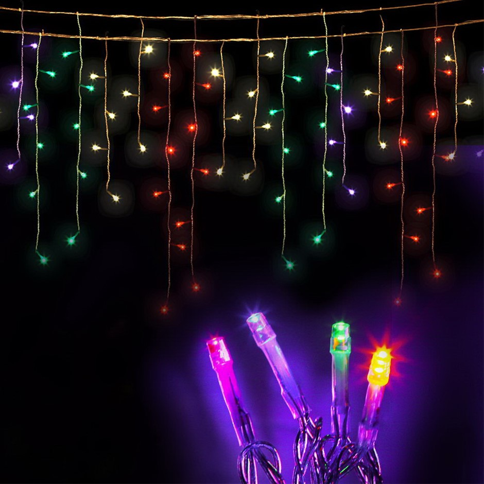Solar Outdoor Christmas Lights.360 Led Solar Icicle Christmas Lights White Blue Graysonline