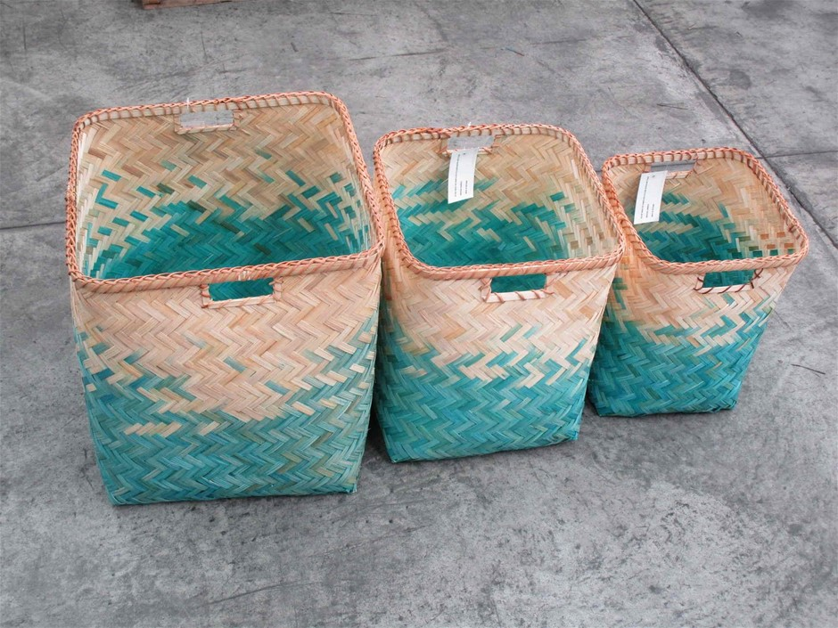 Pallet of Approx. 16 Bamboo Woven Baskets (Set of 3)