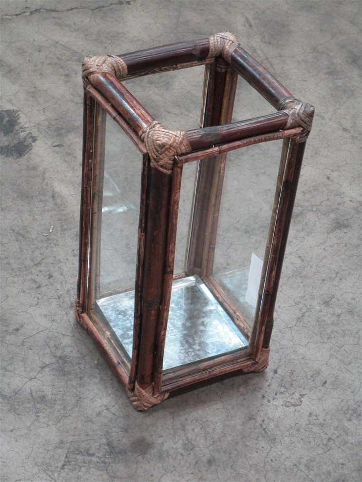 Pallet of 11 Bamboo / Rattan Lantern with Glass Panels