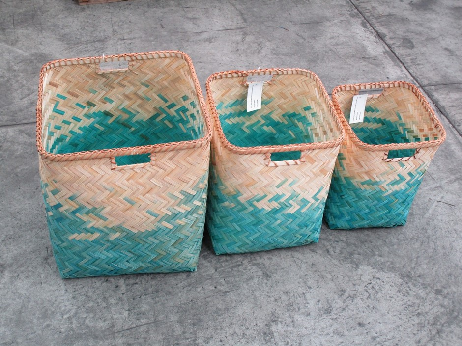 Pallet of Approximately 9 Bamboo Woven Baskets (Set of 3)