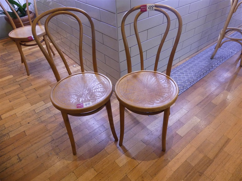 Qty 2 x Thonet No.18 Solid European Beech Frame Bentwood Chairs