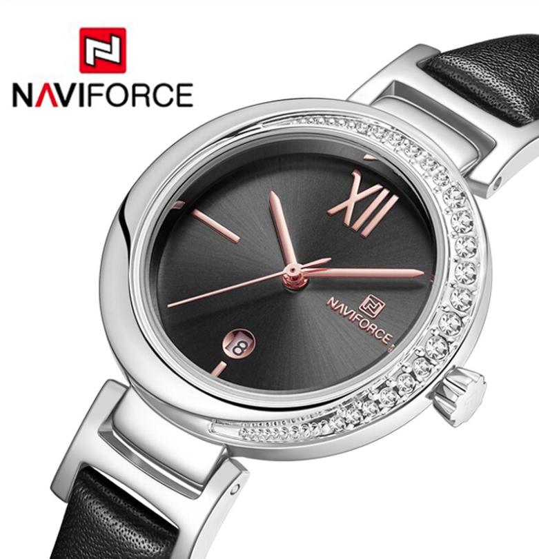 Naviforce Ladies Stylish Watch Water Resistant Leather Bracelet NF-5007 SBB