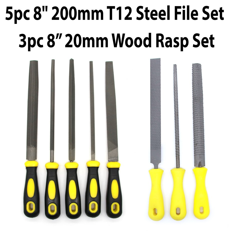 "5pc 8"" 200mm Steel 3pc 8"" Wood Rasp File"