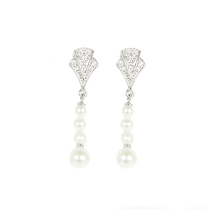 A Pair Of Freshwater Pearl & Cubic Zirco