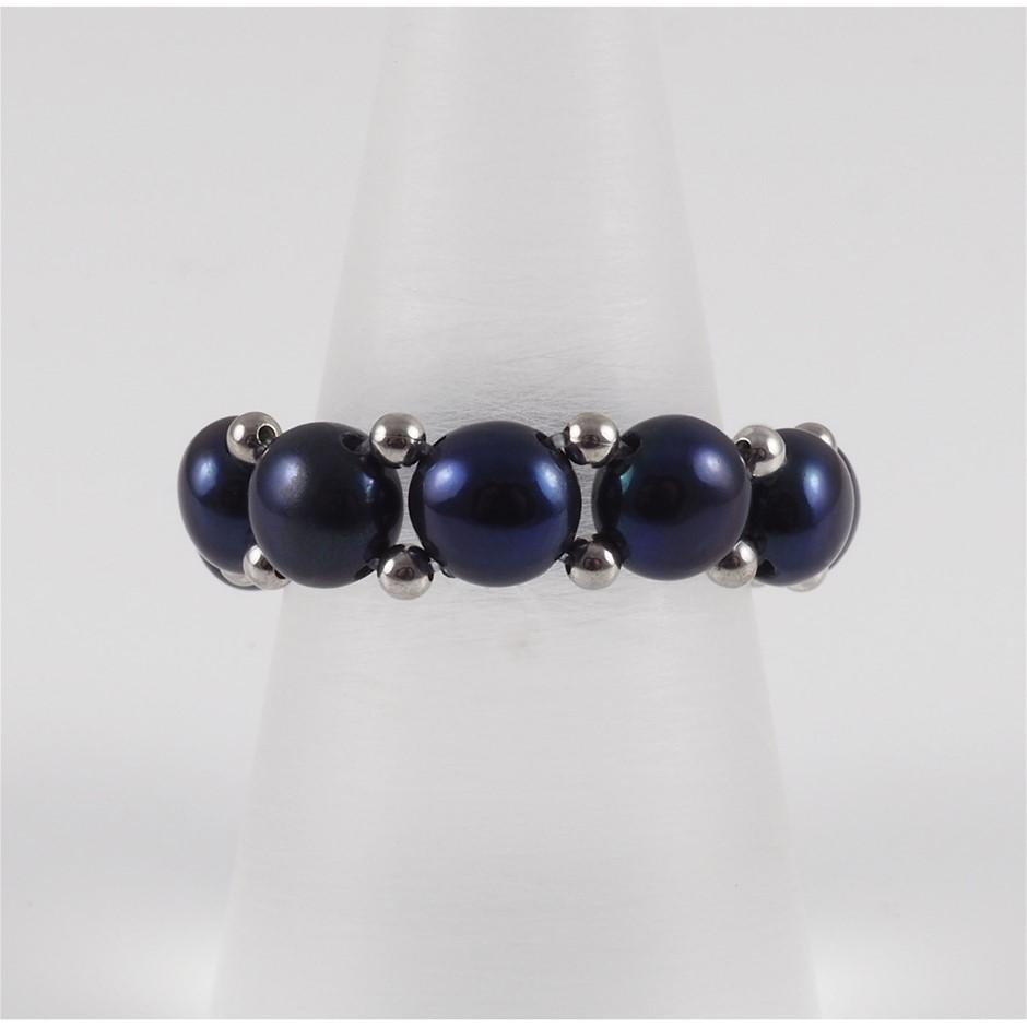 Natural Black Freshwater Pearl & Sterling Silver Adjustable Ring