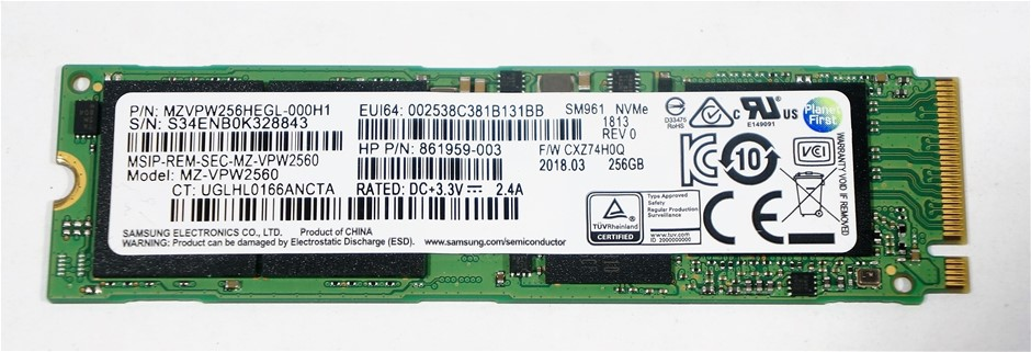 Samsung PCIe NVMe M.2 2280 256GB Solid State Drive