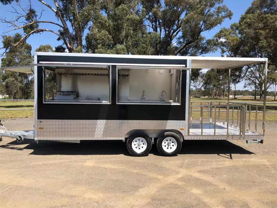 Food Trailer 740 with Porch - 2019 Dimensions