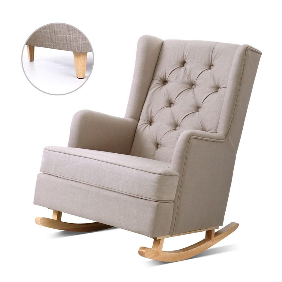 Artiss Rocking Armchair Feeding Chair Fabric Armchairs Recliner Beige