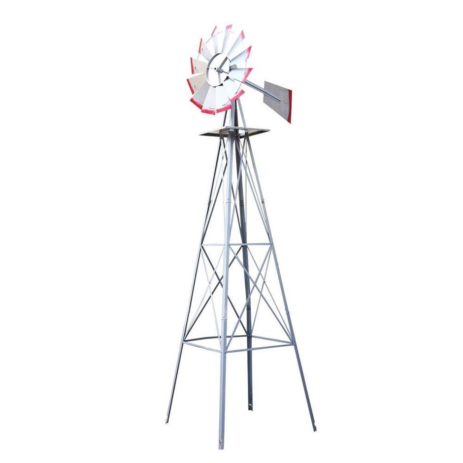 Garden Windmill 8FT 245cm Metal Ornaments Outdoor Decor