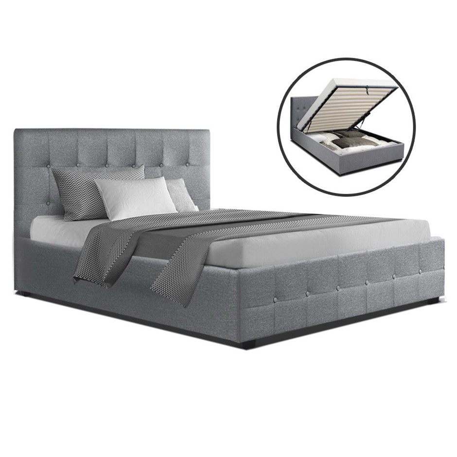 Artiss ROCA King Single Size Gas Lift Bed Frame Base Storage Mattress Grey