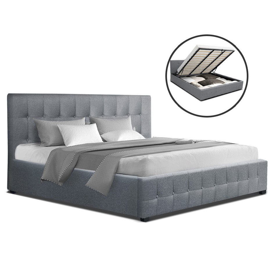 Artiss ROCA King Size Gas Lift Bed Frame Base Storage Mattress Grey