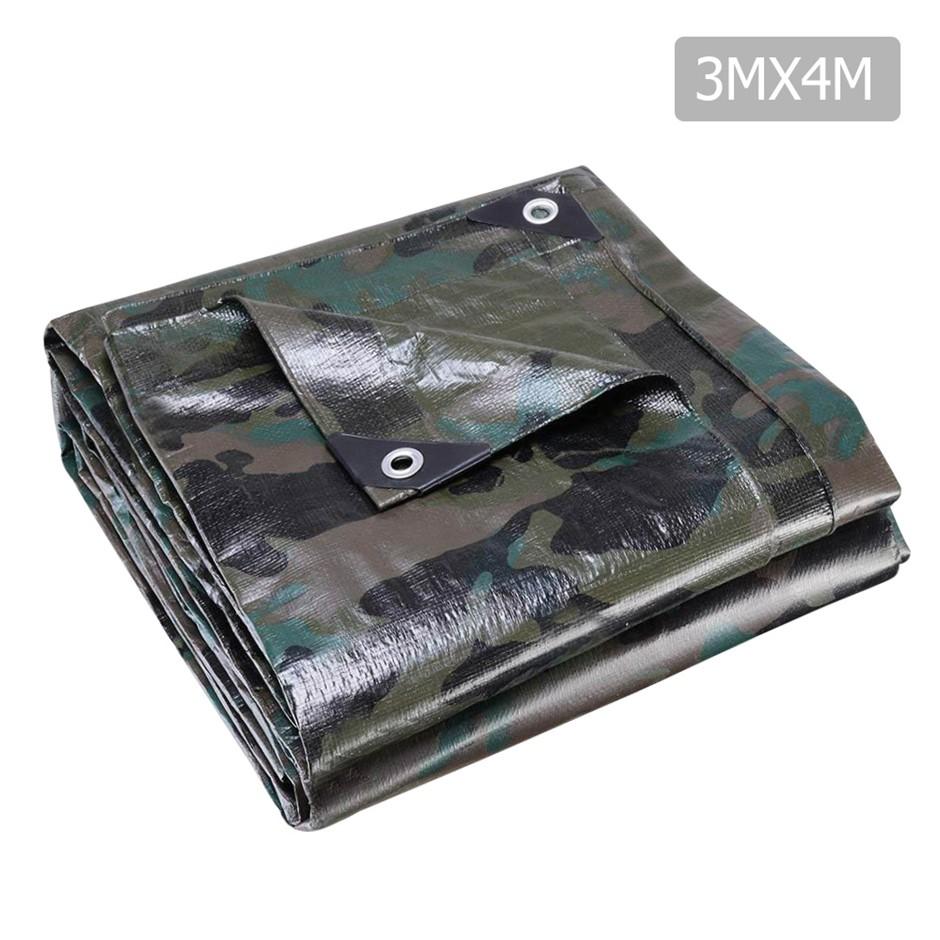 Instahut 3x4m Canvas Tarp Heavy Duty Camping Poly Tarp Tarpaulin Camouflage