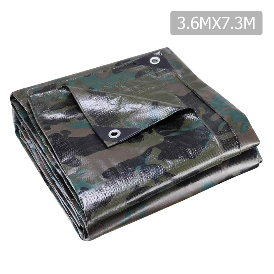 Instahut 3.6x7.3m Canvas Heavy Duty Camping Poly Tarp Tarpaulin Camouflage