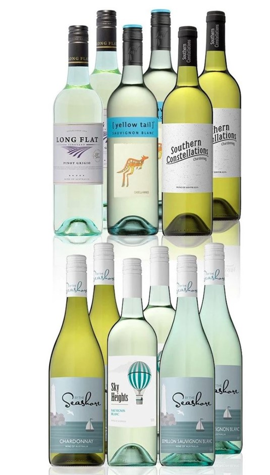 Mixed White Dozen Feat. Yellow Tail Sauvignon Blanc (12x 750mL)