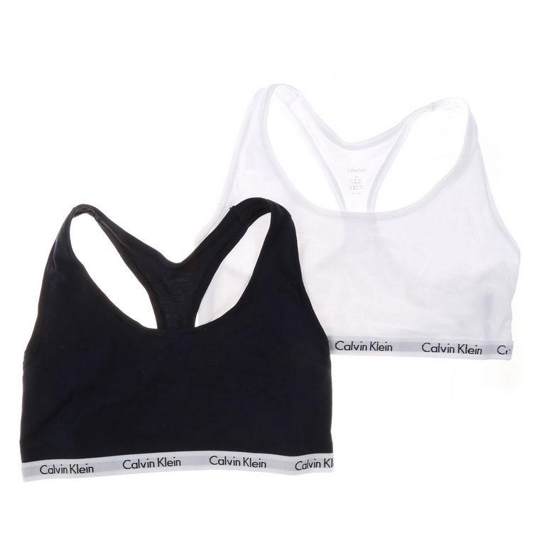 2 x CALVIN KLEIN Women`s Modern Bralettes, Size M, Cotton, White & Navy Buy