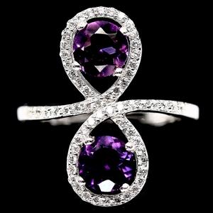 Striking Genuine Purple Amethyst Ring.