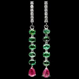 Stunning Genuine Emerald & Ruby Drop Ear
