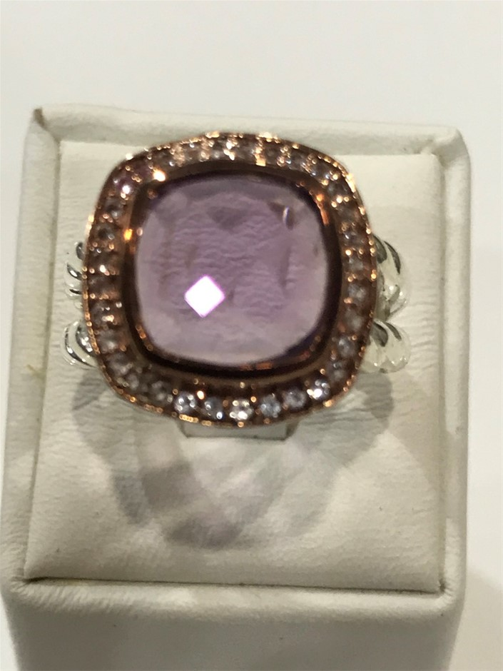 Lovely Amethyst Halo Ring