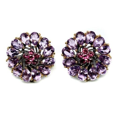 Purple Amethyst & Rhodolite Garnet Earrings.