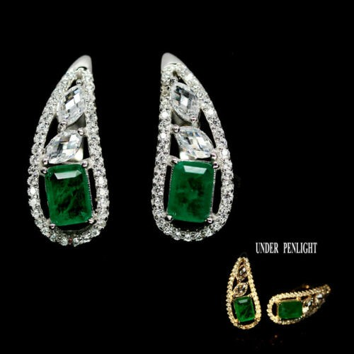 Gorgeous Square Cut Forest Green Doublet Emerald Earrings.