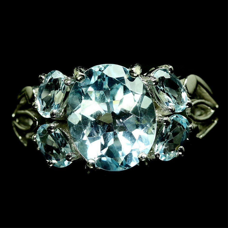 Oval Cut Sky Blue Topaz Ring Size 'Q'