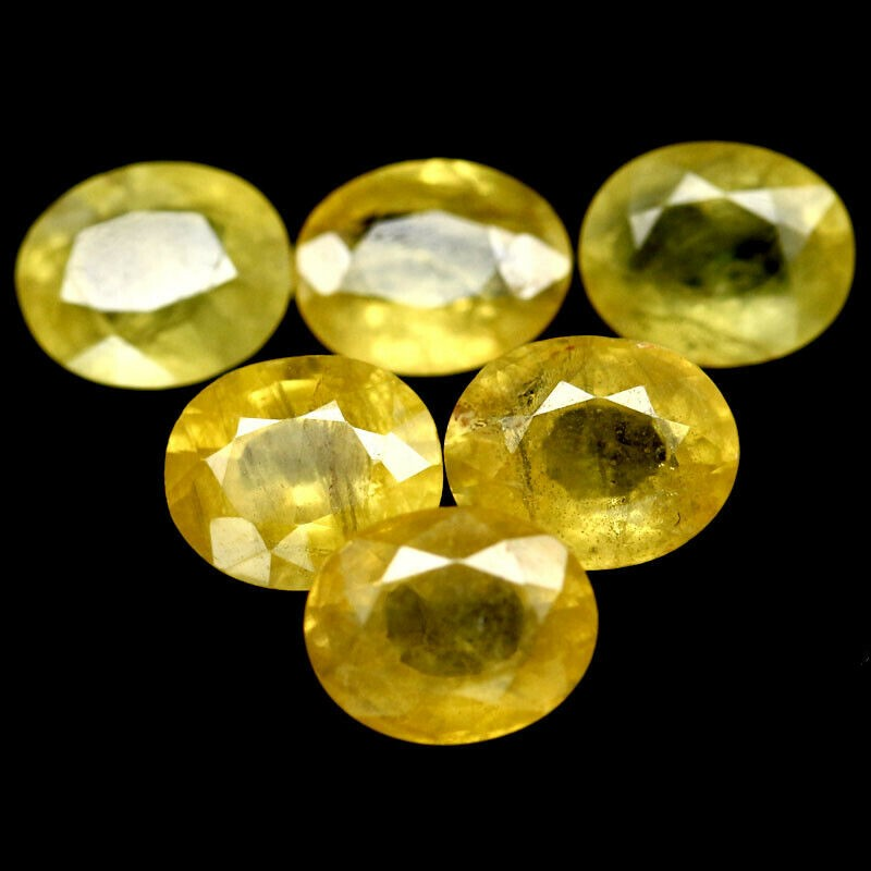 10.04 ct. (Approx. 6pc) Oval Facet Cut Yellow Sapphires