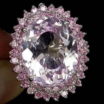 Stunning Pink Kunzite & Sapphire Ring. Size 'M