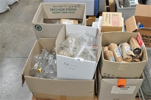 Pallet of assorted laboratory glassware: