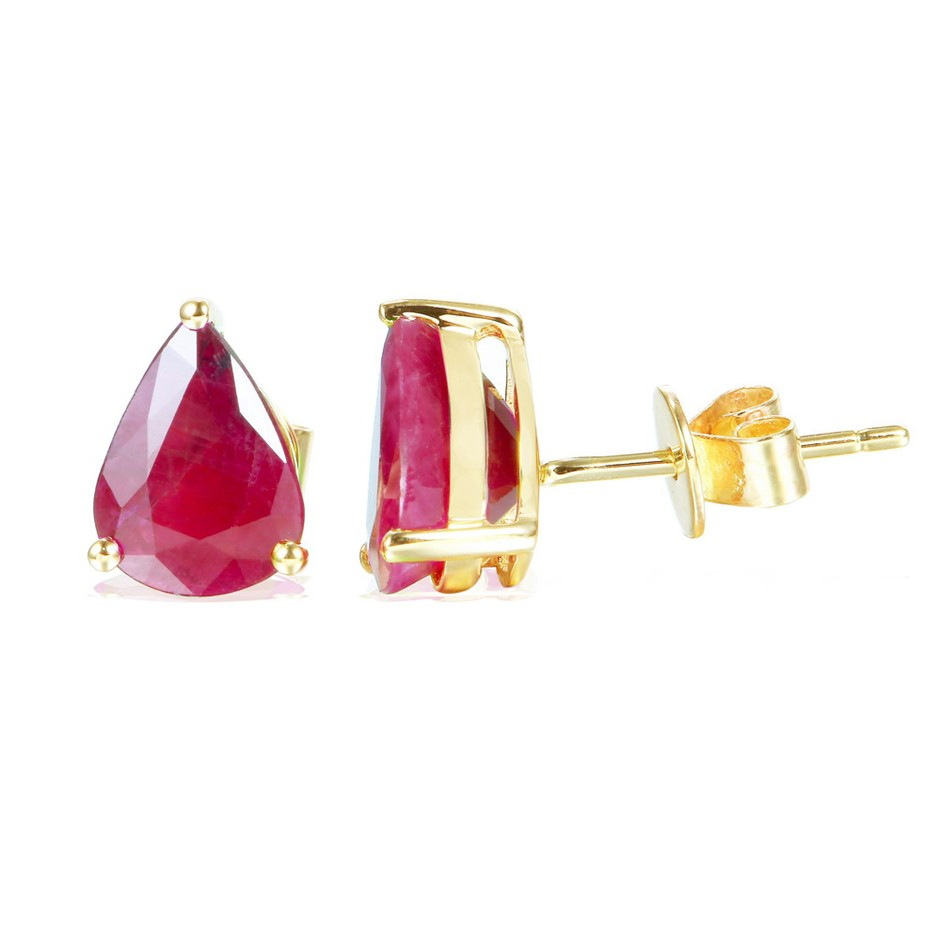 9ct Yellow Gold, 2.22ct Ruby Earring